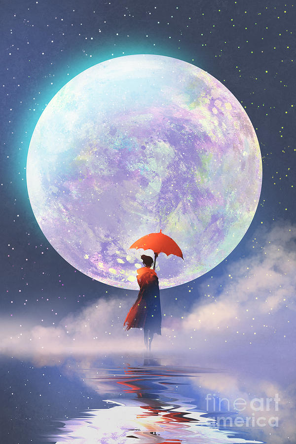 Woman Digital Art - Woman With Red Umbrella Standing by Tithi Luadthong