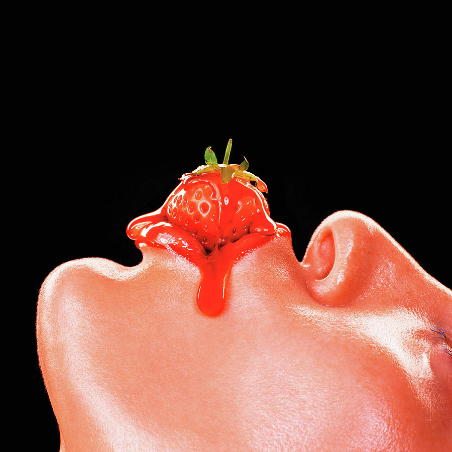 Woman With Strawberry Between Lips Photograph by Kelvin Murray