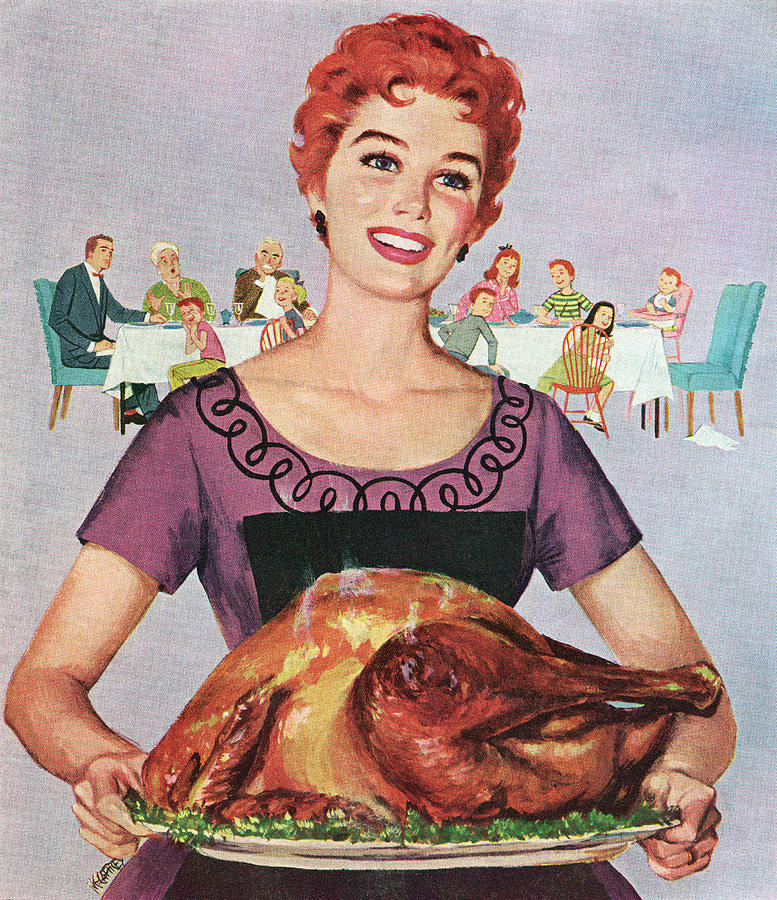 Woman With Thanksgiving Turkey Photograph by Graphicaartis