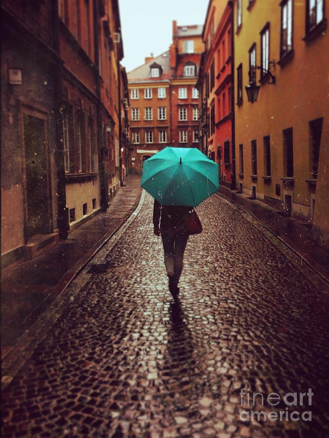 Couple Photograph - Woman With Umbrella Walking On The Rain by Happy Moments