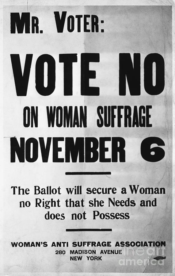 Womans Anti-suffrage Association Poster Photograph by Bettmann
