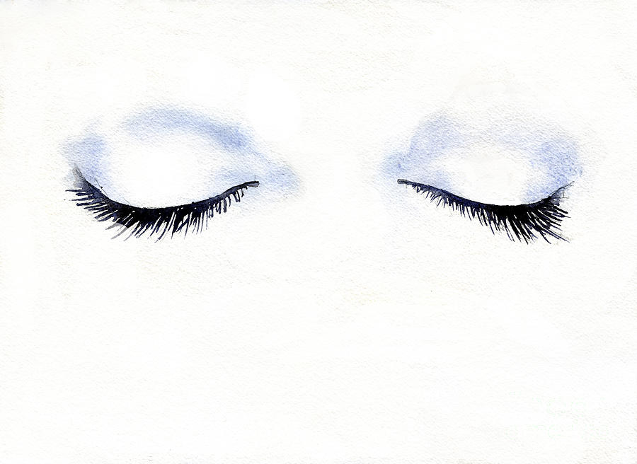 Woman's eyelashes fashion illustration.  Watercolor painting of  by Ryan Fox