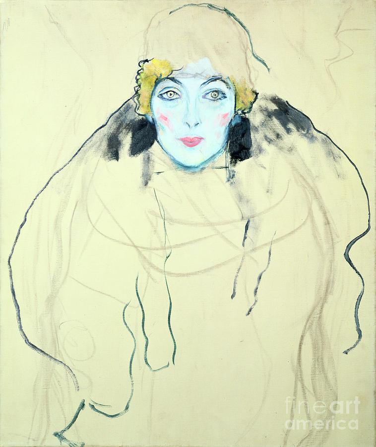 Womans Head Frauenkopf, 1917. Artist Drawing by Print Collector