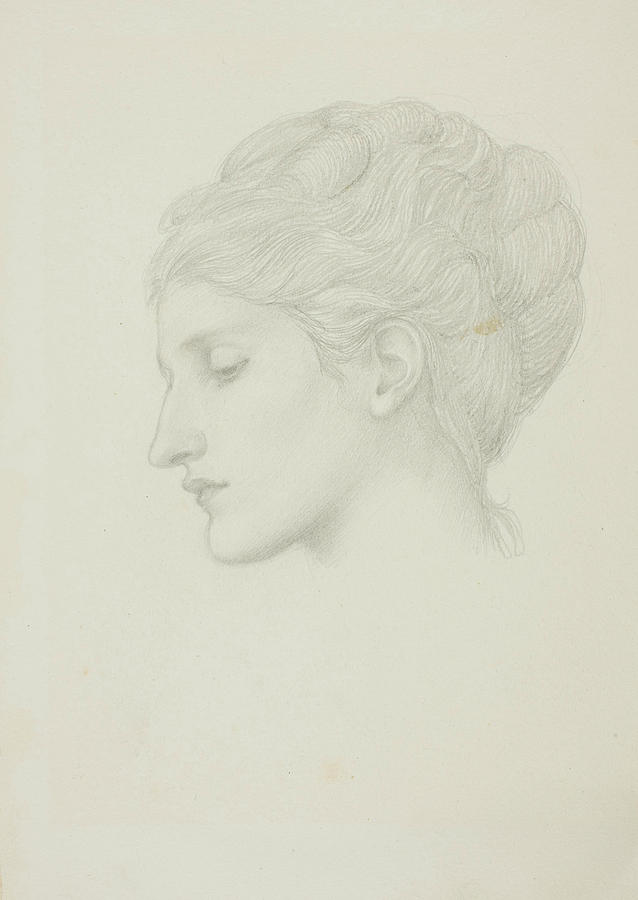 English Painters Drawing - Womans Head In Profile To Left by Edward Burne-Jones