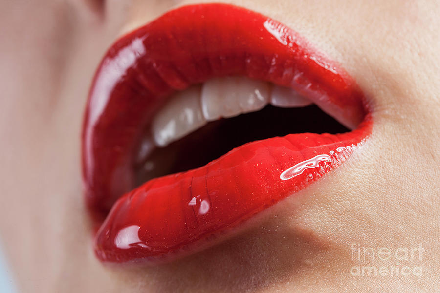 Womans Lips With Red Lipstick Photograph by Westend61