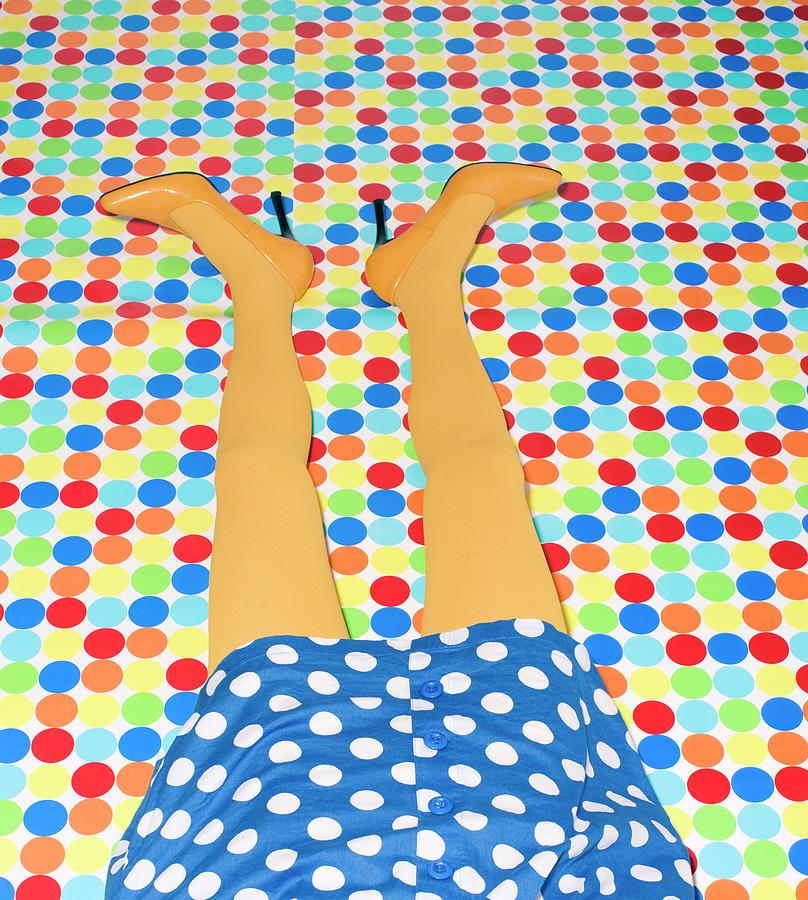 Womans Yellow Legs On Polka Dot Floor Digital Art by Mimi  Haddon