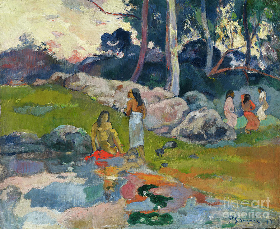 Women At The Banks Of River Drawing by Heritage Images