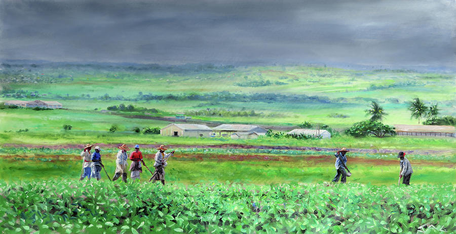 Barbados Painting - Women Fieldworkers, Barbados by Jonathan Guy-Gladding JAG