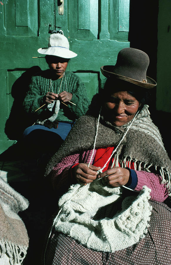 Women In Hats, Knitting Outside In The Photograph by Richard Ianson