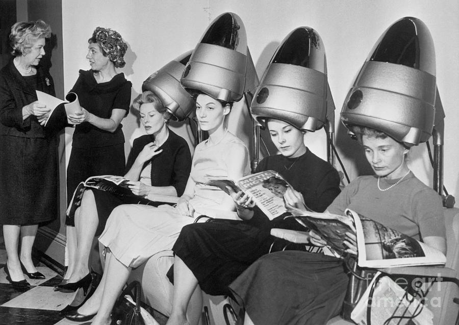 Women Sitting Under Hair Dryers Photograph by Bettmann