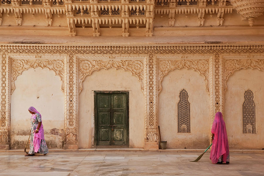 Women Sweeping, Meherangarh Fort Photograph by Peter Adams