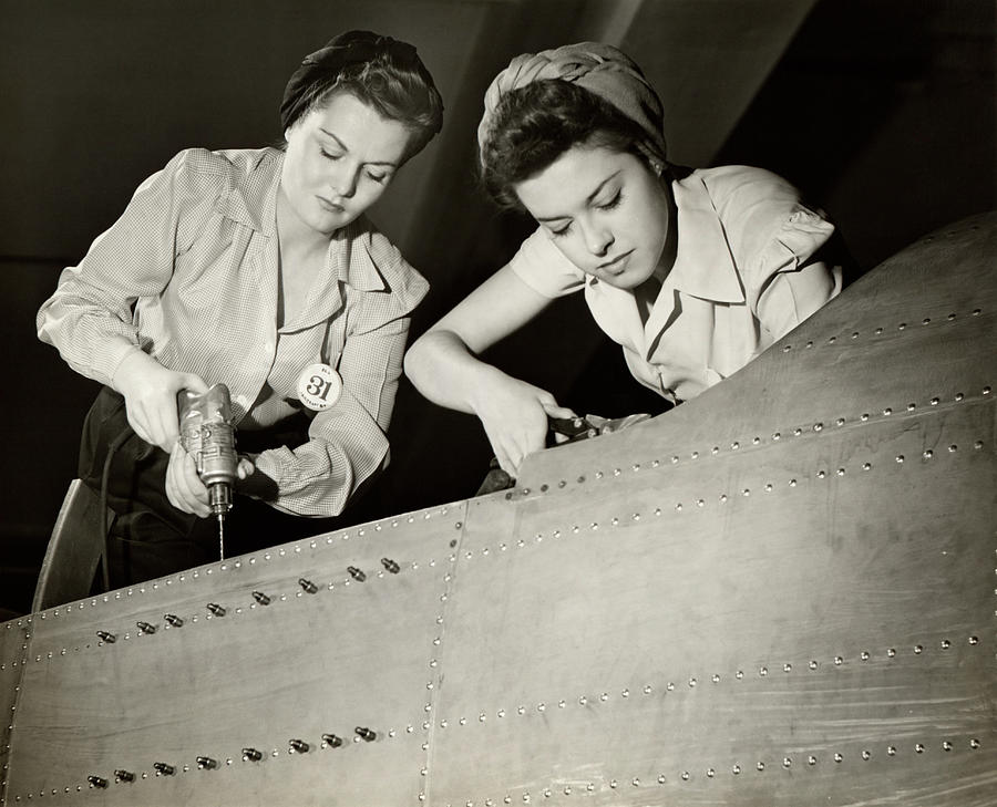 Women Working On Ww II Aircraft Assembly Photograph by George Marks