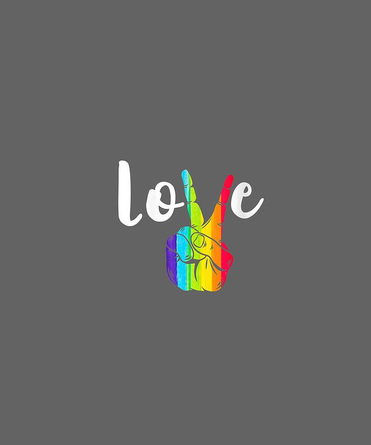 Gay Pride  PEACE SIGN T Shirt Rainbow Tshirt Lesbian LGBT