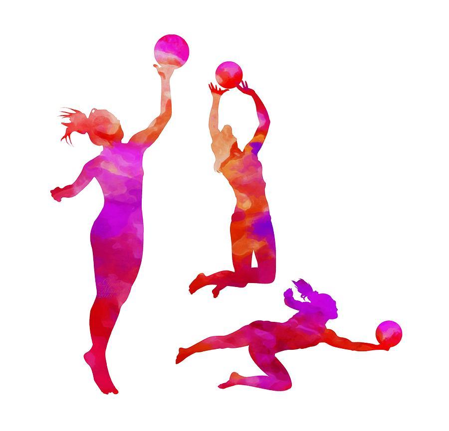 Watercolor Art, Sport, Women Volleyball, Volleyball Art, Girls Wall Art, Sports Wall Art, by David Millenheft
