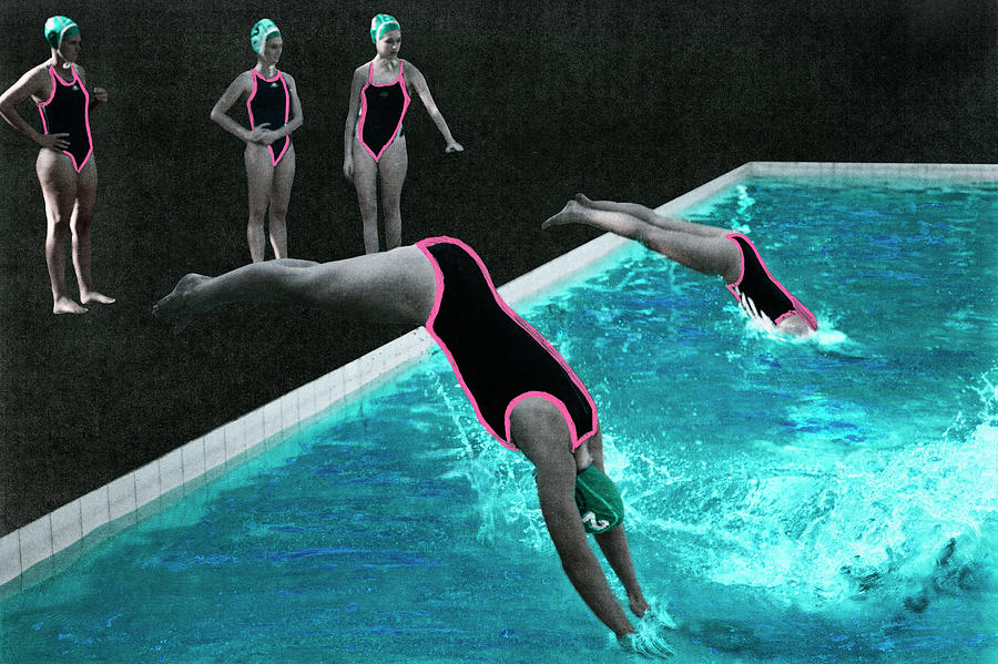 Womens Waterpolo Team Diving Into The Photograph by Klaus Vedfelt