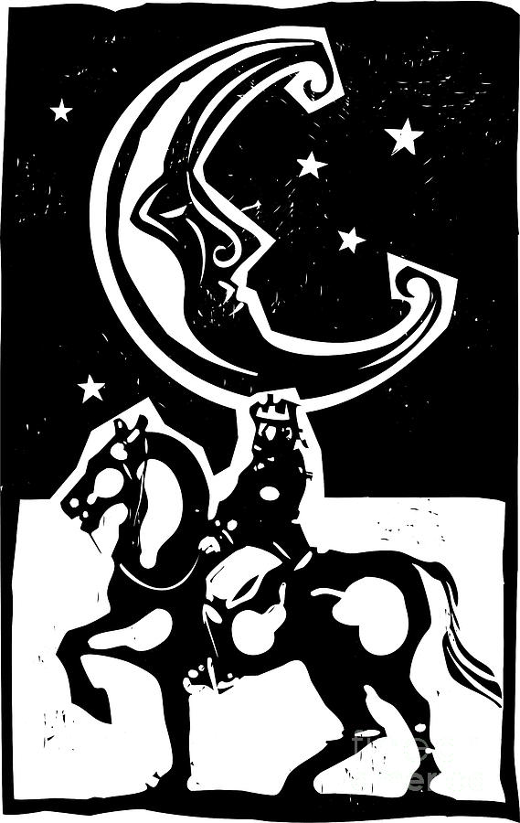 Magic Digital Art - Woodcut Style Moon And Mounted King On by Jef Thompson