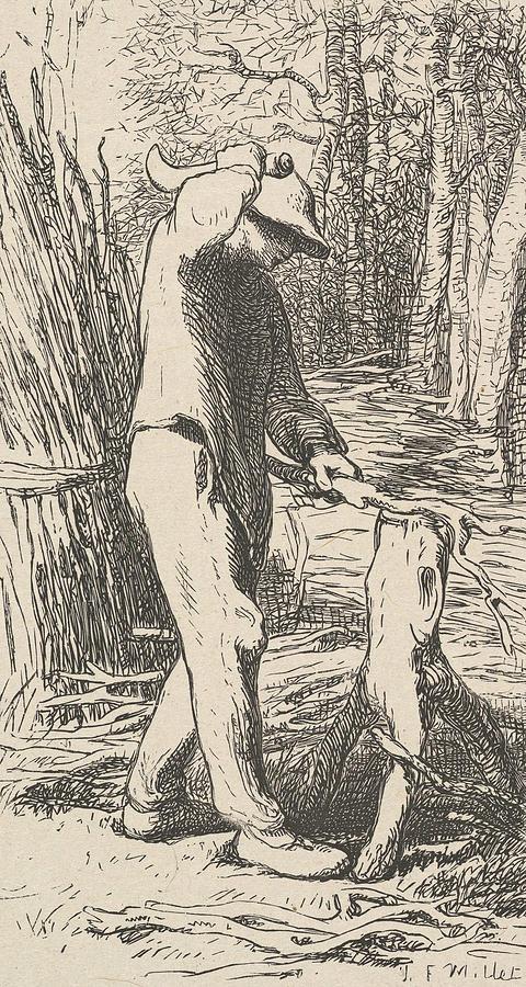 Woodcutter Making a Faggot by Jean-Francois Millet