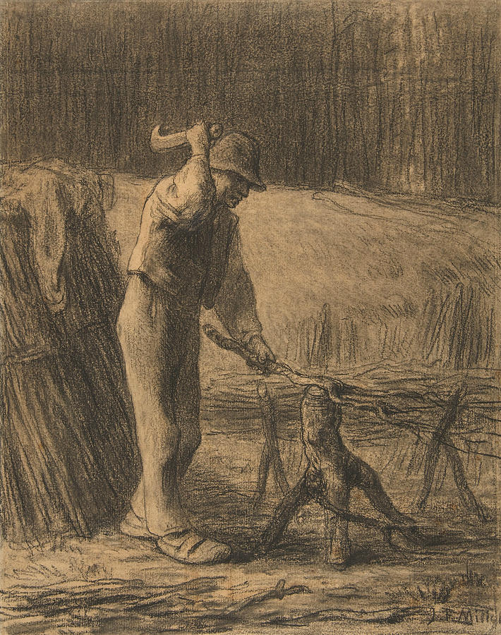 Woodcutter Trimming Faggots by Jean-Francois Millet