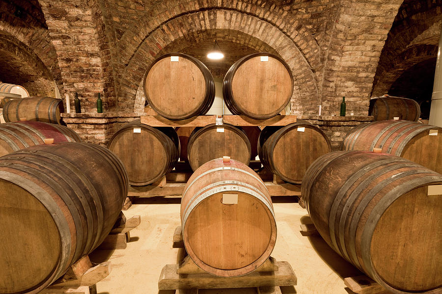 Wooden Barrels In Wine Cellar Photograph by Benedek