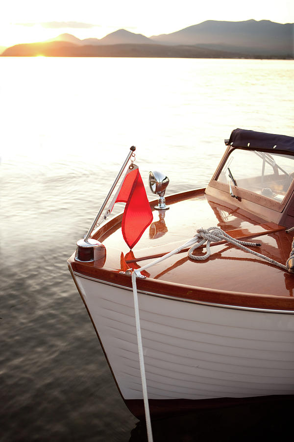 Wooden Boat At Anchor During Sunset Photograph by Silvrshootr