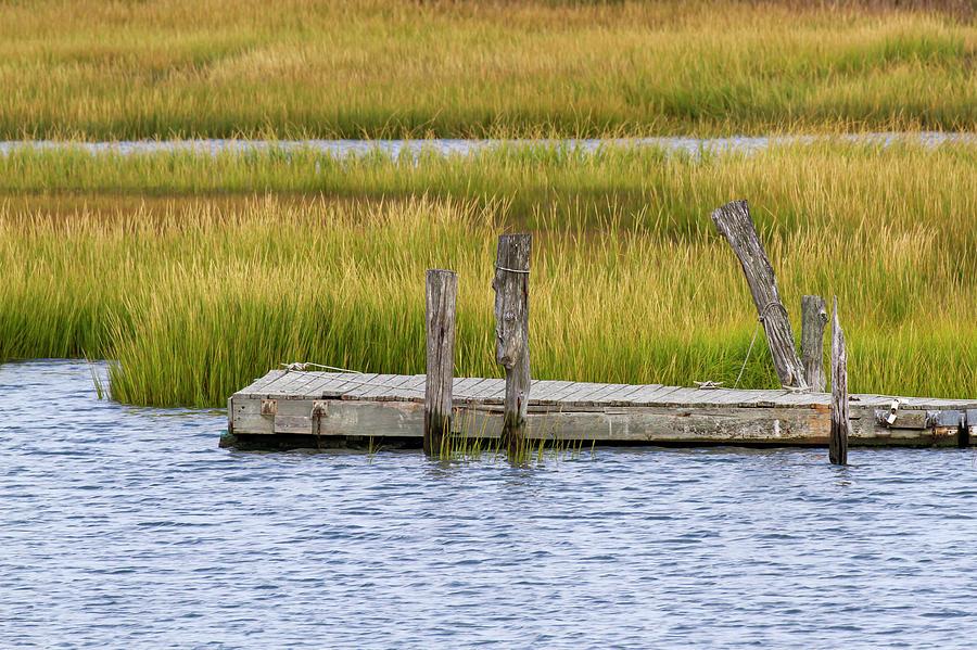 Wooden pier in channel of Delaware Bay by Karen Foley