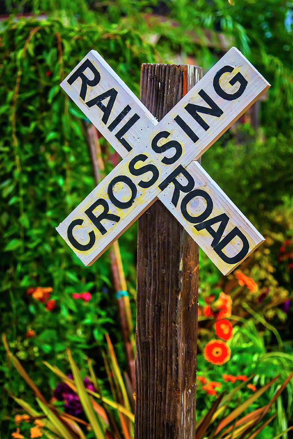 Wooden Railroad Crossing Sign
