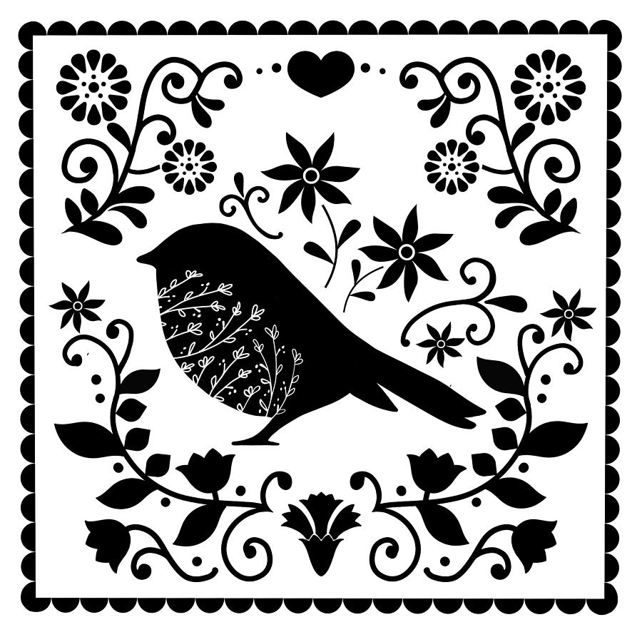 Painting Painting - Woodland Folk Black And White Blue Bird Tile by Little Bunny Sunshine