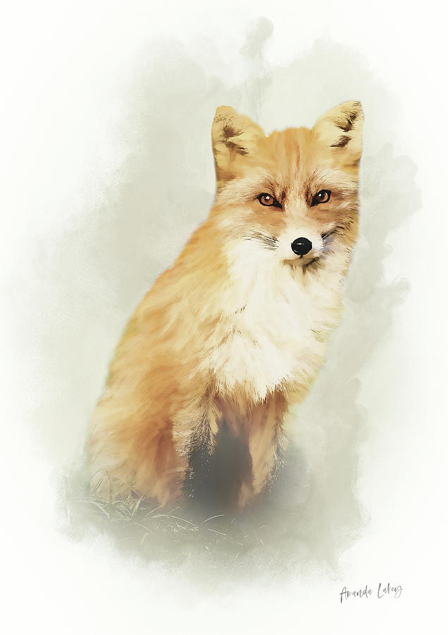 Design Mixed Media - Woodland Fox Portrait by Amanda Lakey