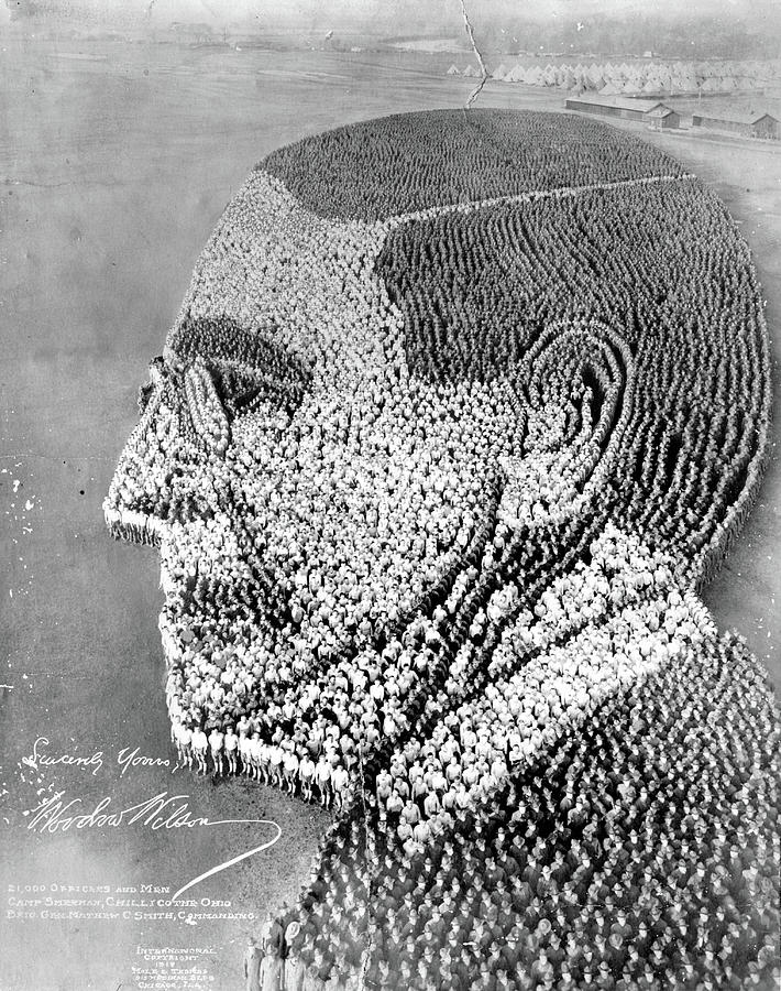 Woodrow Wilson Human Formation - Camp Sherman - 1918 by Max Huber