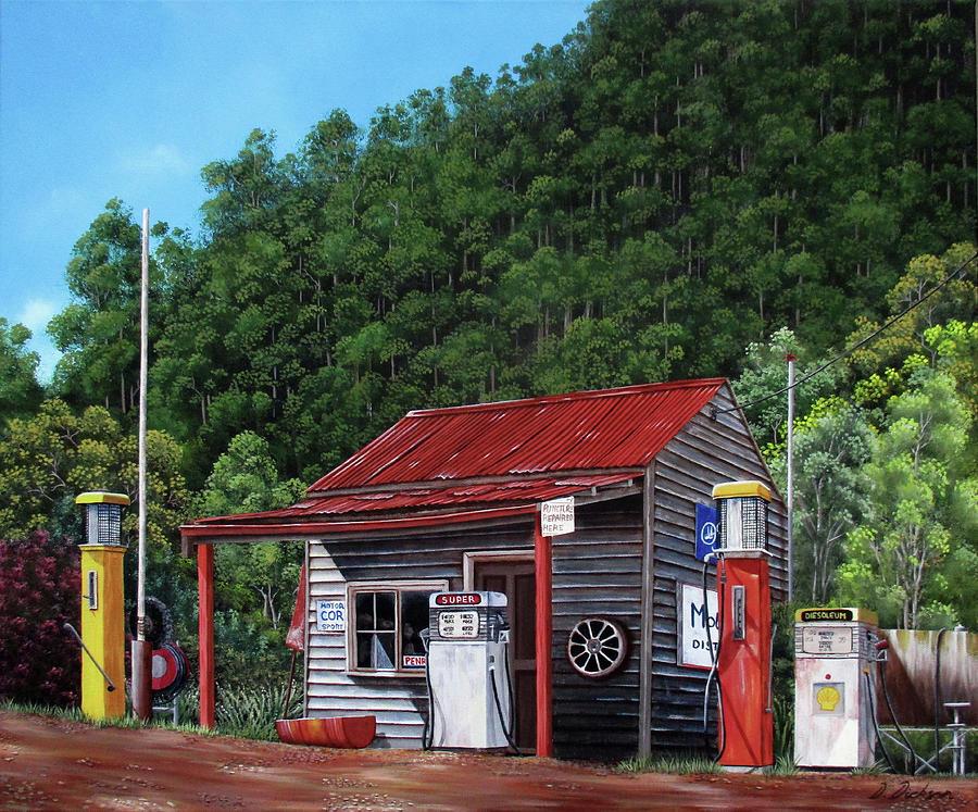 Woods Point historic service station, Victoria, Australia by Debra Dickson