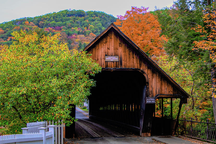 Woodstock Middle Bridge in October by Jeff Folger