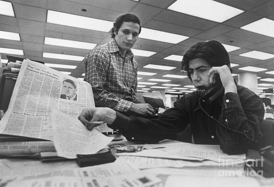 Woodward And Bernstein Research Photograph by Bettmann