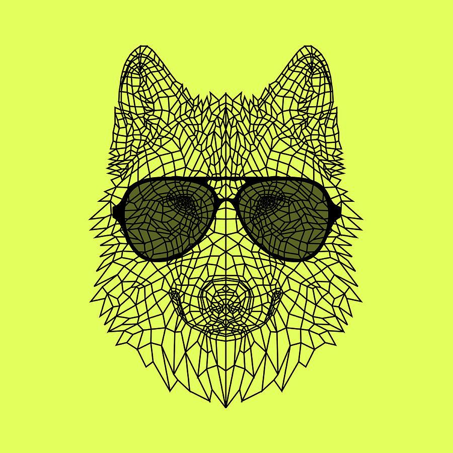 Wolf Digital Art - Woolf In Black Glasses by Naxart Studio