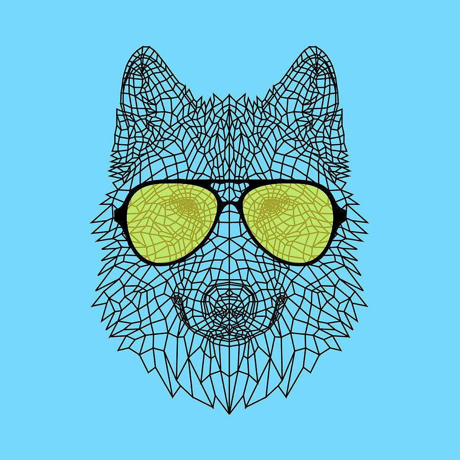 Wolf Digital Art - Woolf In Yellow Glasses by Naxart Studio