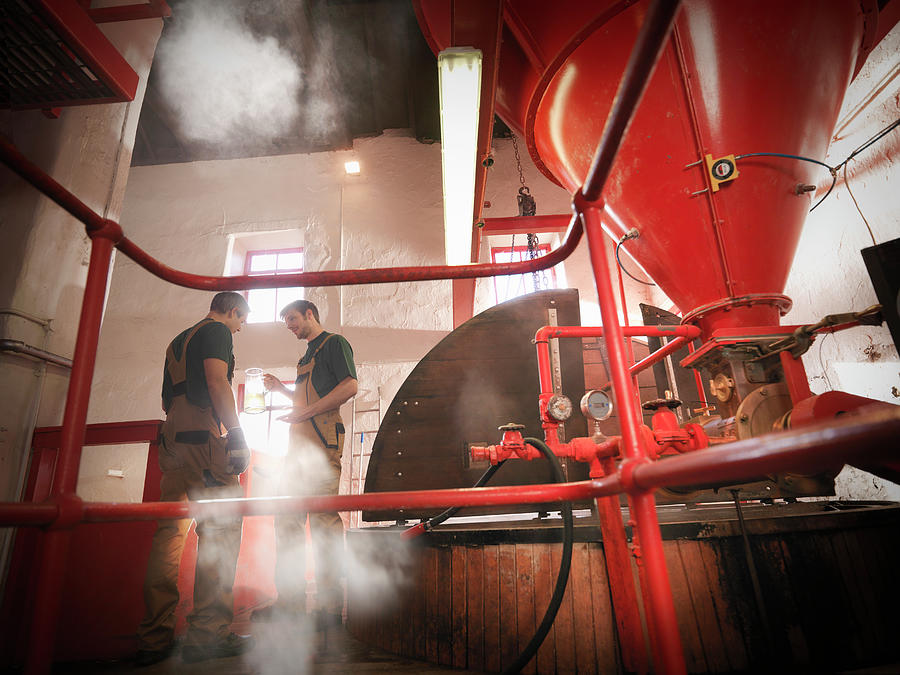 Workers In Brewery With Sample Photograph by Monty Rakusen