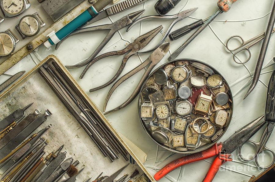 Horologe Photograph - Workplace Watchmaker, Watchmaker Tools by Ukki Studio