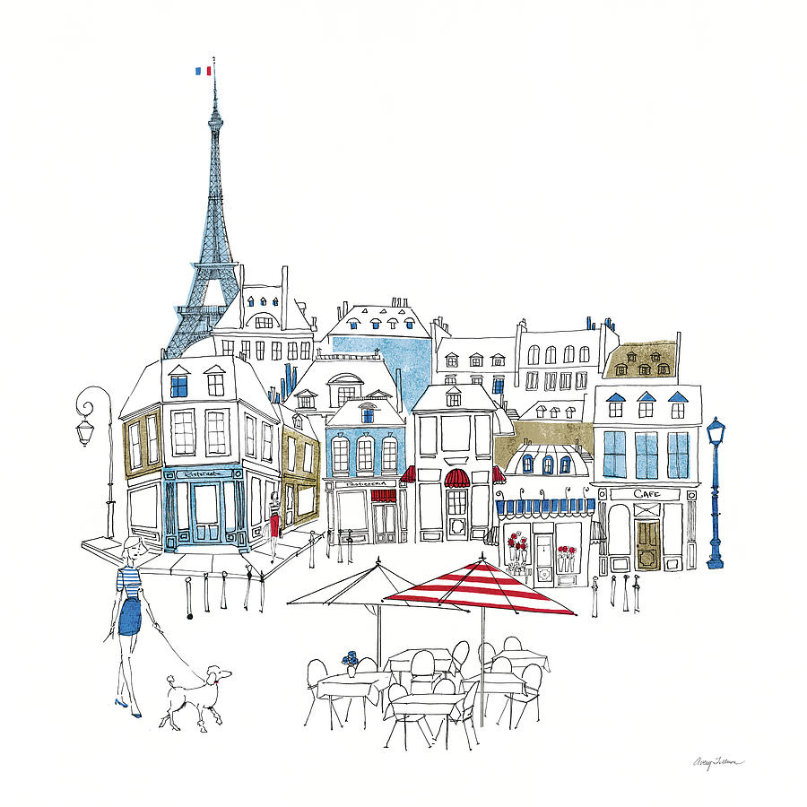 Architecture Painting - World Cafe II Paris Color by Avery Tillmon