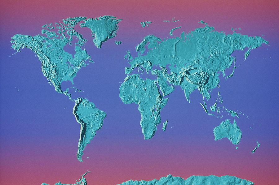 World Land Mass Map Photograph by Vladimir Pcholkin