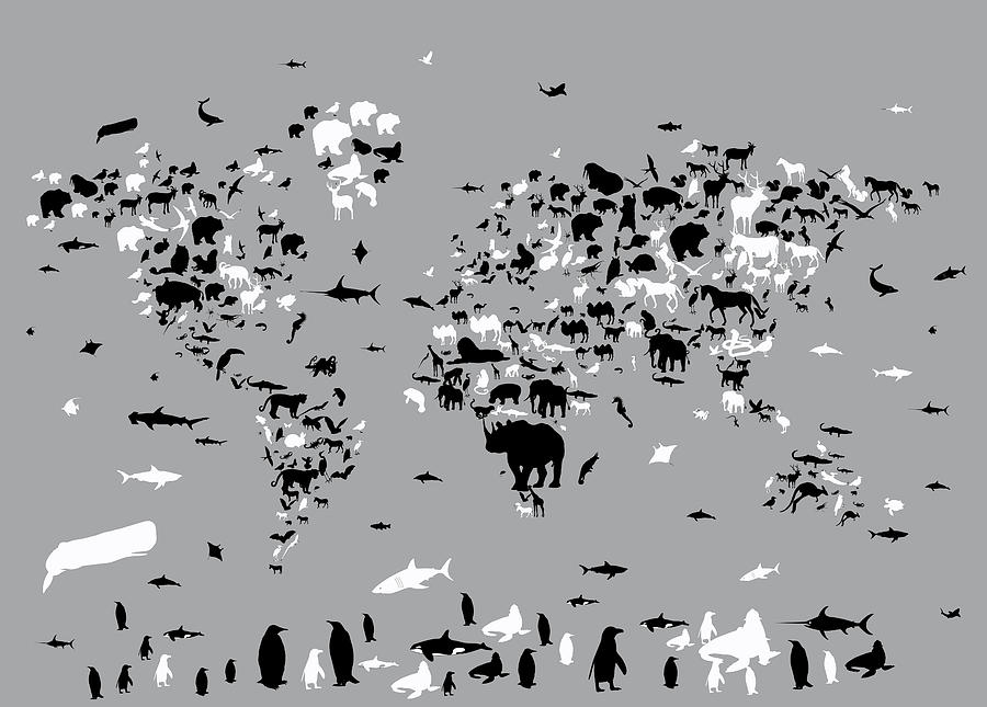 World map animals grey digital art by bekim art world map digital art world map animals grey by bekim art gumiabroncs Images
