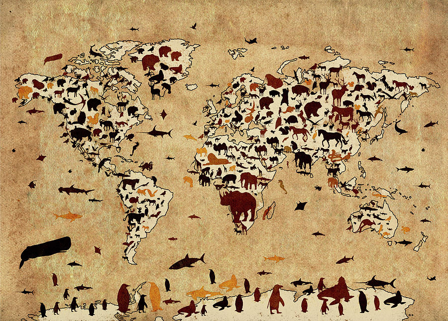 World Map Animals Vintage 2 Digital Art By Bekim Art