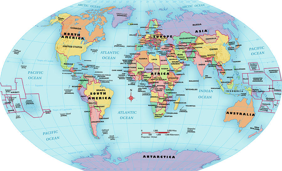World Map, Continent And Country Labels Digital Art by Globe Turner ...