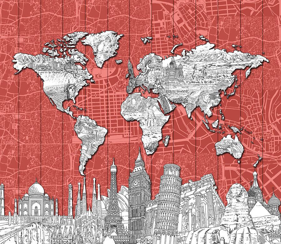 Map Digital Art - World Map Landmarks Skyline 3 by Bekim M