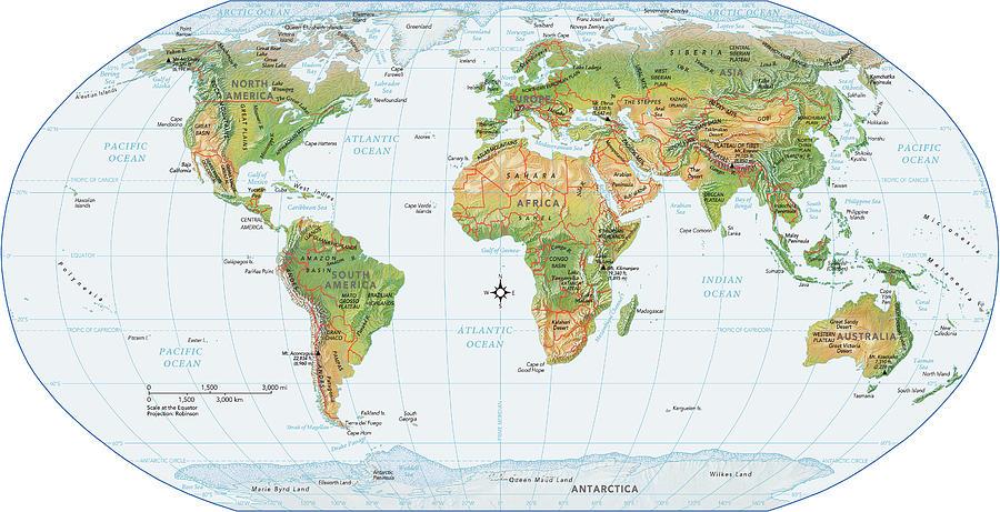 World Map, Physical Digital Art by Globe Turner, Llc