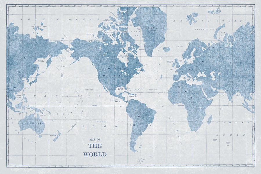 World Map White And Blue Painting by Sue Schlabach