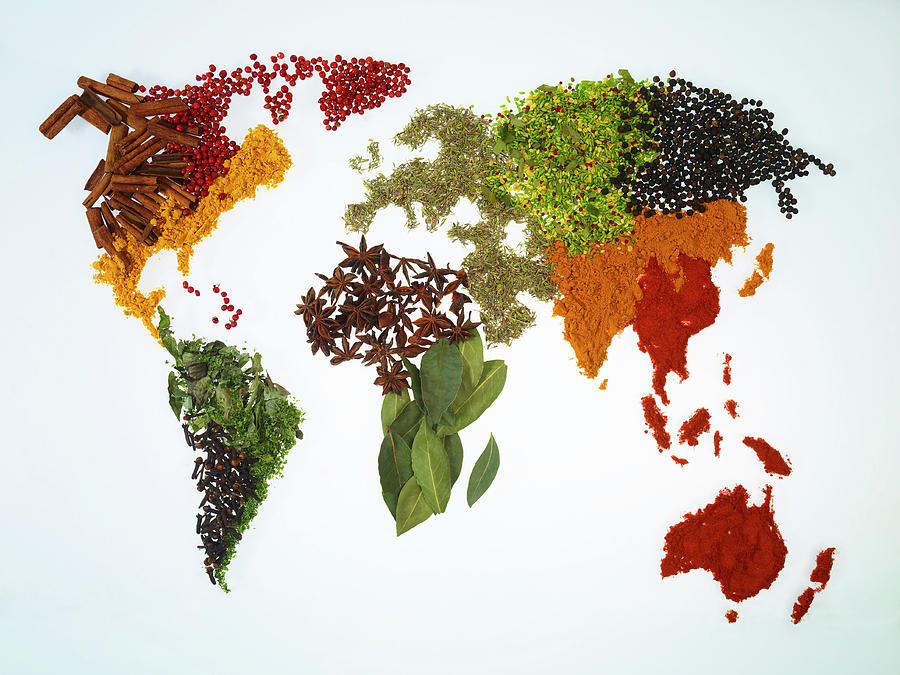 World Map With Spices And Herbs Photograph by Yamada Taro