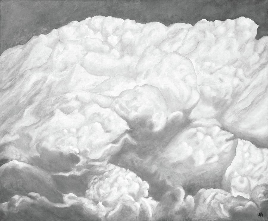 Clouds Painting - World Of Animals In The Clouds. Black And White. Cloud Series. by SurfArtTango Marina Lisovaya