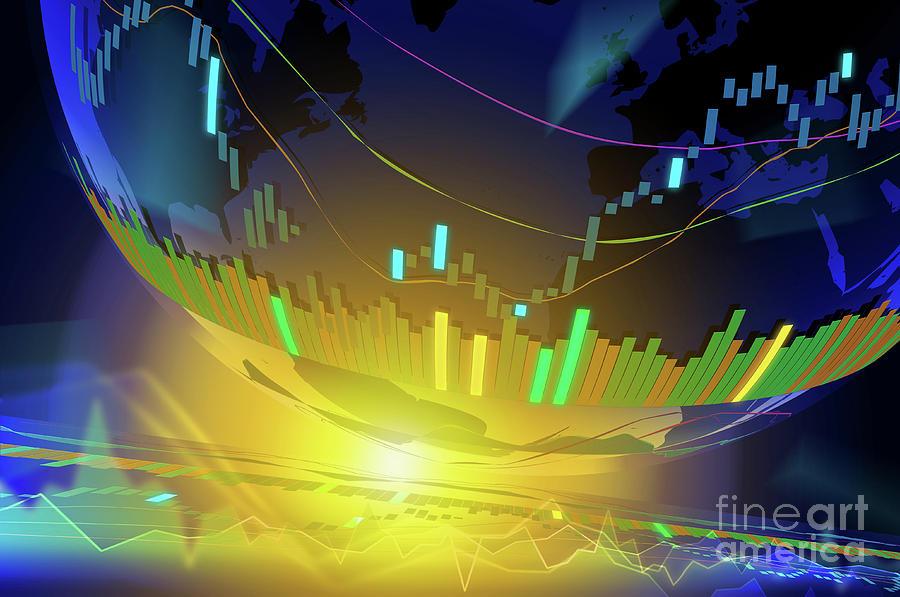 World stock graph by ATIKETTA SANGASAENG