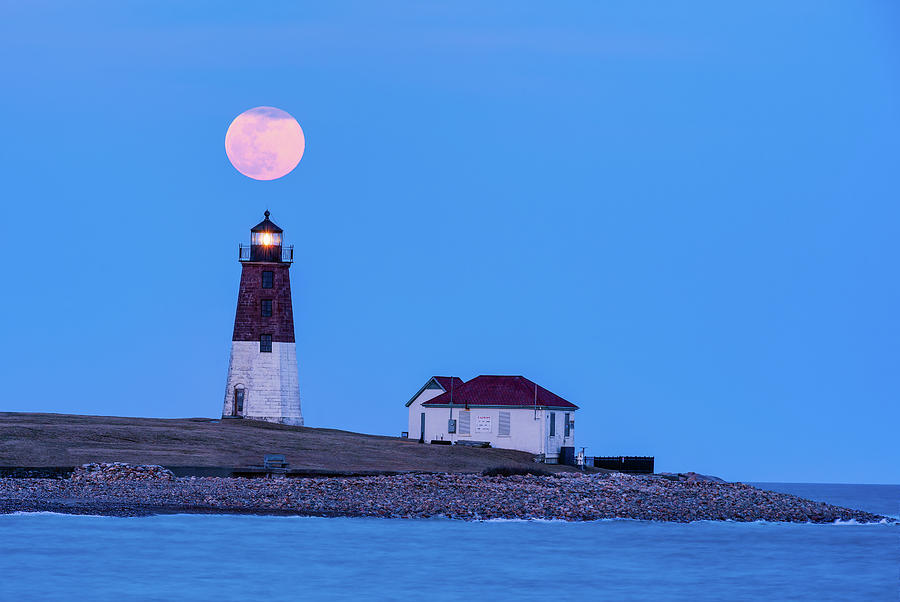 Worm Moon over Point Judith by Michael Blanchette