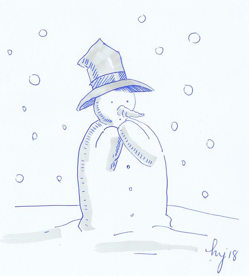 Worried Snowman Christmas cartoon by Mike Jory