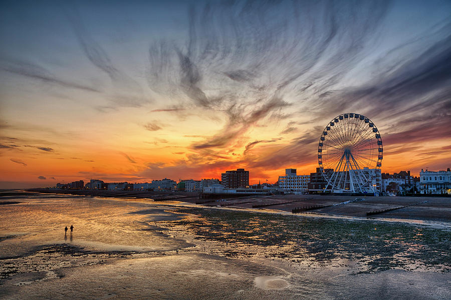 Worthing Beach Sunset by Len Brook